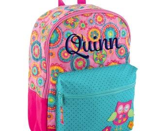 Personalized Backpack Owl, Quilted, Stephen Joseph Girls Rucksack, Monogrammed, Toddler Girl, Preschool