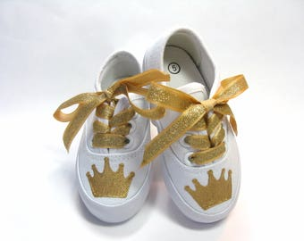 Gold Crown Shoes, Tiara Sneakers, Princess Theme Birthday Party, Hand Painted for Babies or Toddlers