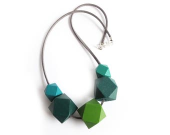 Hexagon Necklace, Geometric Necklace, Green Wooden Jewellery, Gift For Her, Quirky Necklace, Colourblock Jewellery, Wooden Necklace, Seafoam
