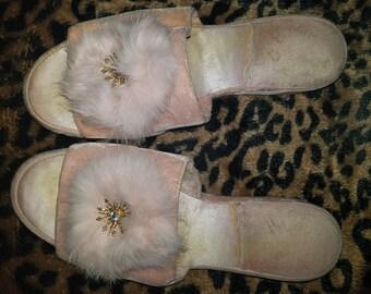 Vintage 1950s pink Angora Furry Slippers - with gold & rhinestone emblem