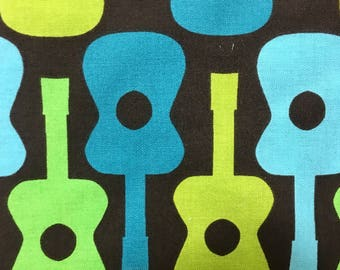 OOP Michael Miller Fabric by the Yard - Groovy Guitar in Lime - Aqua Turquoise Brown Lime Green - Designer Fabric