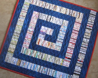 Modern Blue Selvage Quilt from Quilts by Elena  Recycled and Reinvented Add a POP of color to your home