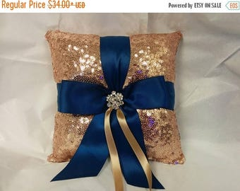 ON SALE SEQUIN Ring Pillow or Basket -Colors- Flower Girl -Ringbearer, Rose Gold with Navy, Wedding, Bridal, Sequin,  Ribbon Choice, Bling D