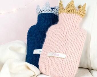 Children's Personalised Crown Mini Hot Water Bottle, Childrens Christmas Gift, Girlfriend gift, Princess Gift, Gift for girls, gift for boys