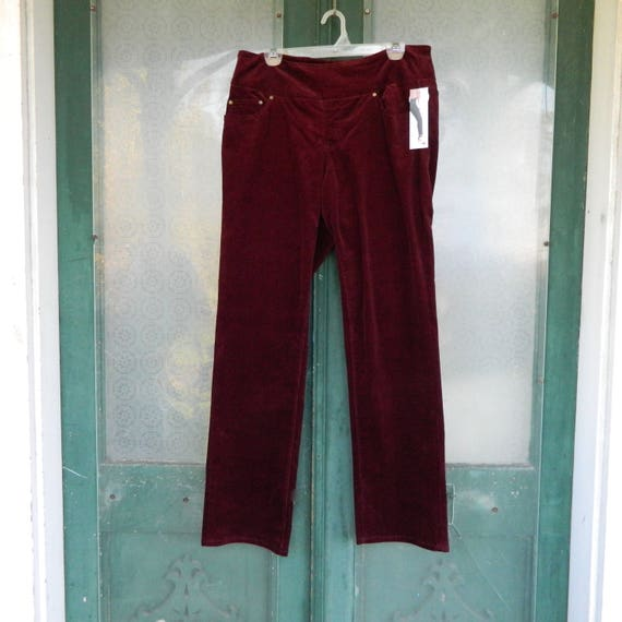 SALE 25% OFF Original Price - Jag Pull On Jeans -14- Deep Berry Red Corduroy Cotton Spandex NWT