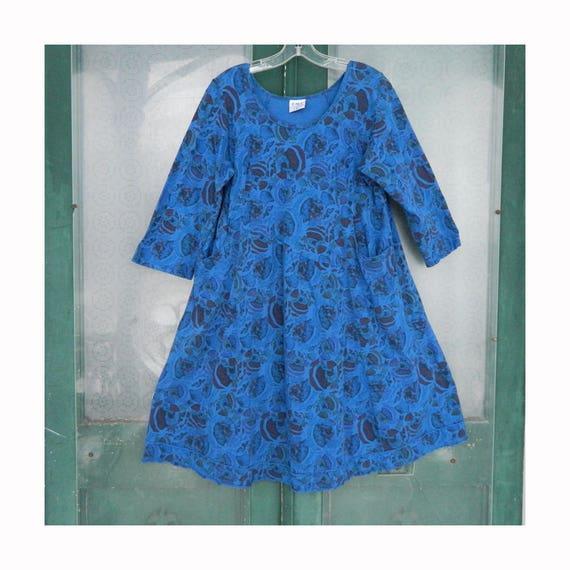 Click by Color Me Cotton 3/4 Sleeve Smock Dress -XL- Cobalt Blue Floral Cotton