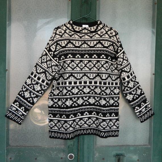 J. Jill Mock Turtle Pullover Sweater -L- Black and Cream Geometric Stripe Cotton/Wool Blend