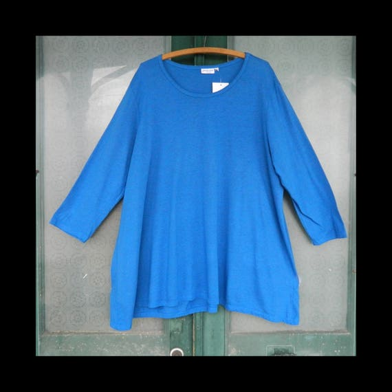 Prairie Cotton Relaxed Scoop Neck Tunic -XXL- Peacock Blue Cotton/Poly NWT