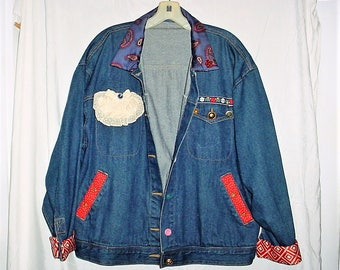 Vintage 80s Embellished Ladies Jean Jacket Silk Buttons Pins Lace XL