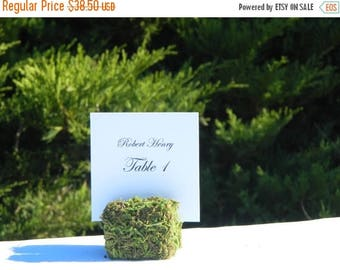 15% off ends at 5pm Moss Place Card Holder + Rustic Wedding Moss Cube Table Sign Holders- Set of 11