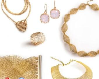 On SALE 20% - Learn jewelry making, UNIQUE crochet patterns combo, Wire knitting patterns, Wire Crochet jewelry, Mesh Mesh jewelry, NEW