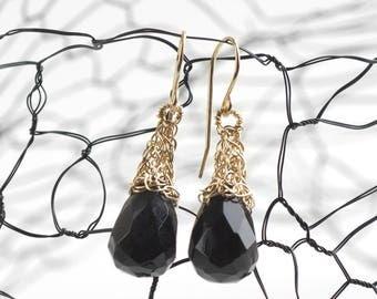 Black earrings,Black Onyx Earrings,Gold Earrings,Black Gold Earrings,Black Dangle Earrings,Black Drop Earrings,Gift for her,Unique earrings