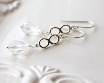 Custom Listing/Infinity Earrings / Infinity Sterling Silver Wedding Earrings / Infinite Love / Swarovski Crystal Clear Earrings Bridal Party