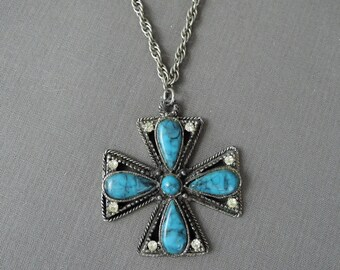 Vintage Necklace with Rhinestones and Faux Turquoise, 24 inch chain