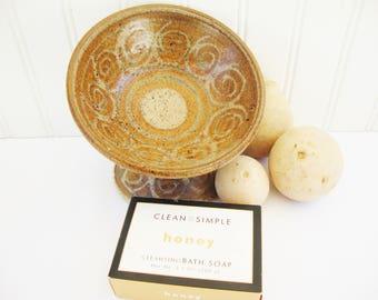vintage soap dish  studio pottery pedestal tilted bowl soaps display wishon harrell