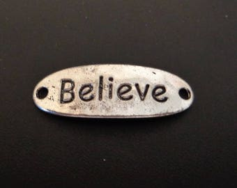 Believe Connector Charm - Silver Tone - Low Shipping