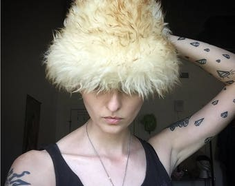 Italian fur lamb hat, vintage, fur hat, leather, italian leather, italian fur, furry, hat