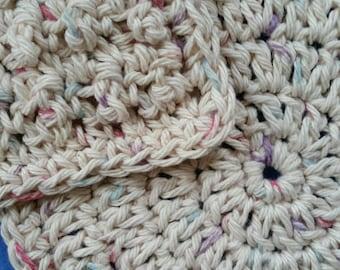 Two Cotton Washcloths Dishcloths, one round and one bumpy square, handmade crochet washcloth set dishcloth set - Potpourri Ombre
