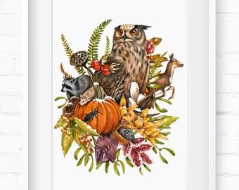 Autumn in Nature, Home Decor, Wall Art, Art Print, Wall Decor, Giclée Print, Animal Print, Nursery Art, Children's Wall Art, Spring Animals