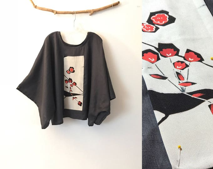 over size steel gray  linen top with vintage kimono panel ready to wear