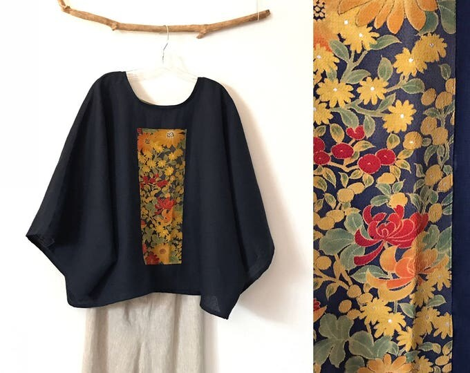 oversized deep blue linen top with vintage kimono panel floral print ready to wear / free size linen top / plus size fit linen kimono top