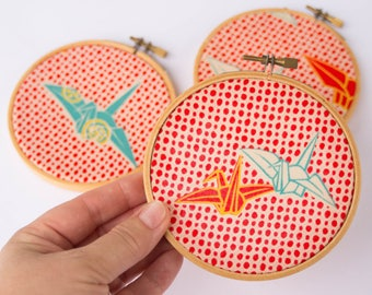 Vintage Kimono Origami Crane Fabric in Hoops // Set of Three