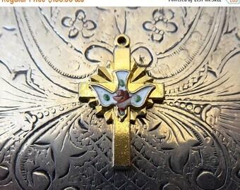 CLEARANCE SALE Mid-Century Modern Spiritus Sanctus, The Holy Spirit Dove Catholic Resurrection Cross Gold Religious Enamel Medal Necklace Pe