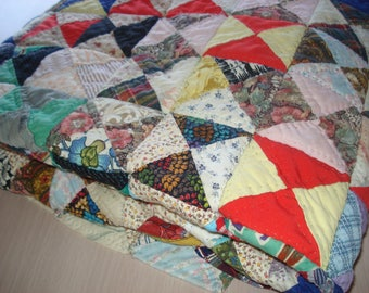 "Vintage 1970's Colorful Patchwork Quilt - Completely Handsewn - 6 Stitches Per Inch - 51"" x 78"""