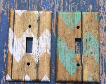Turquoise Birch Wood Chevron Distressed Switchplate Outlet Double Triple Quad Rocker Blank Cable Dimmer