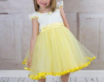 yellow dress, flower girl dress, yellow flower girl, vintage flower girl dress, Victorian dress, tutu dress, flower girl dress tutu SALE