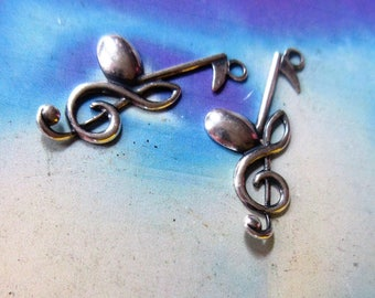 Sterling Silver Ox Plated Brass Treble Clef and Music Note  Music Charms Jewelry Supply 282VER x2
