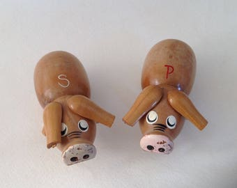 Wooden Pig Salt and Pepper Shakers