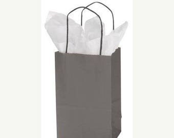 New Years Sale 25 pack Charcoal Grey Recycled 5.25 x 3.5 x 8.5 inch Paper Handle Bags