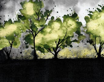 Landscape painting 8x12in, A4 - canvas sheet - green tree /trees and gray sky