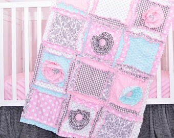 Baby Bedding Set - Gray / Mint / Light Pink Girl Crib Bedding - Girl Crib Set - Floral Nursery - Baby Rag Quilt, Skirt, Sheet, Crib Bumpers