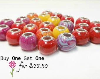 Sale, Flower Petal Jewelry, Funeral Flowers, Pet Beads, Fits Pandora, Flowers into beads, Large Hole Charm, Round BOGO