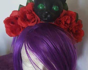 Cat, Cat crown, Rose crown, Flower crown, Floral crown, Red rose, Rose, Kitty, Crazy cat lady