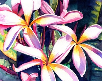 Plumeria Watercolor print 8x10 from Kauai Hawaii pink frangipani art