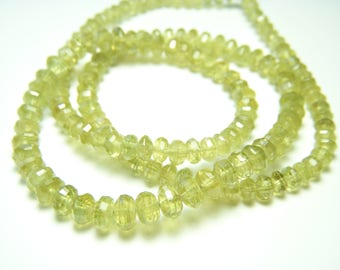 Chartreuse Chrysoberyl Step-Faceted Roundels - Half Strand - 3 to 5mm - 8 Inches