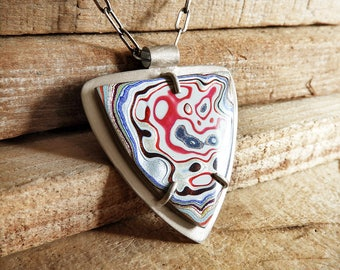 Fordite jewelry, Detroit Agate necklace, fordite necklace, girlfriend gift for wife, sterling silver statement necklace, holiday gift