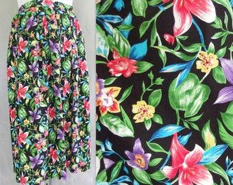 Black 1980's Skirt, Vintage Tropical Print Skirt, Modern Size 8 to 10, Small to Medium