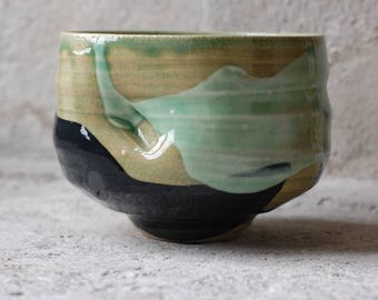 indented green chawan