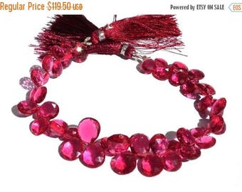 50% Off Sale Full 8 Inches AAA Hot Pink Quartz Faceted Pear Briolettes Size 8x7 - 12x 10mm approx
