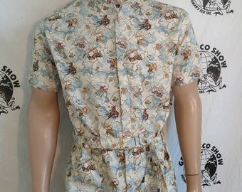 Mens Romper shorts  40 M - L by Anna Herman USA jumpsuit Cowboy bronco cotton print