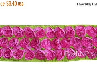 20% OFF EXP 06/30 Two yards Rosette Ribbon 4 inches - Lime with Hotpink roses