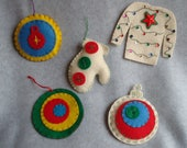 Embroidered Felt Christmas Ornaments OOAK Hand Stitched Ugly Christmas Sweater Mitten Colorful Retro Ornaments Star Christmas Lights Sequins