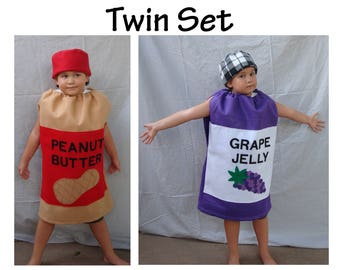 Baby Twin Costumes Halloween Costumes Peanut Butter and Jelly Twins Jam Jar Couples Costume SIbling Costume Boy Costume Girl Costume Kids