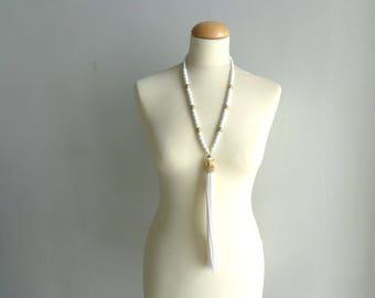 White long tassel necklace, rhinestones gold white necklace, tassel long necklace