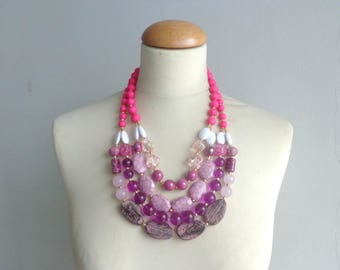 Chunky Pink necklace multistrand pink necklace, pink statement necklace