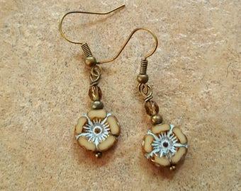 Glass flower Earrings Czech glass